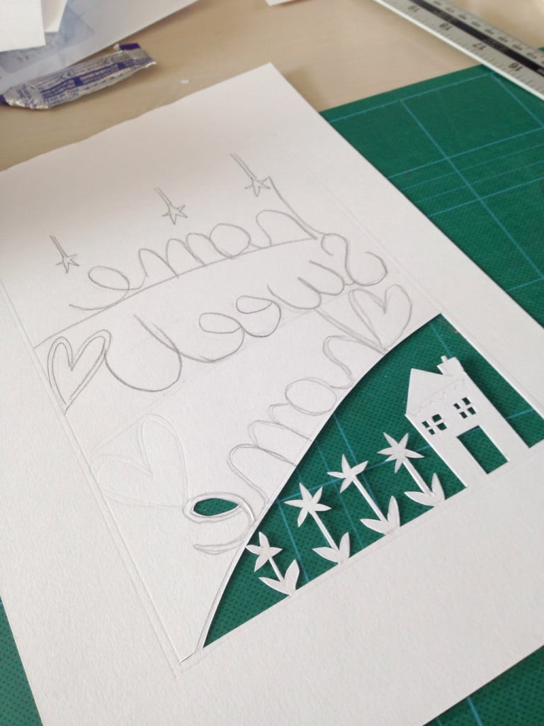papercut picture tutorial — I traced the image on to a piece of good quality cartridge paper and began to cut out the design with a scalpel.