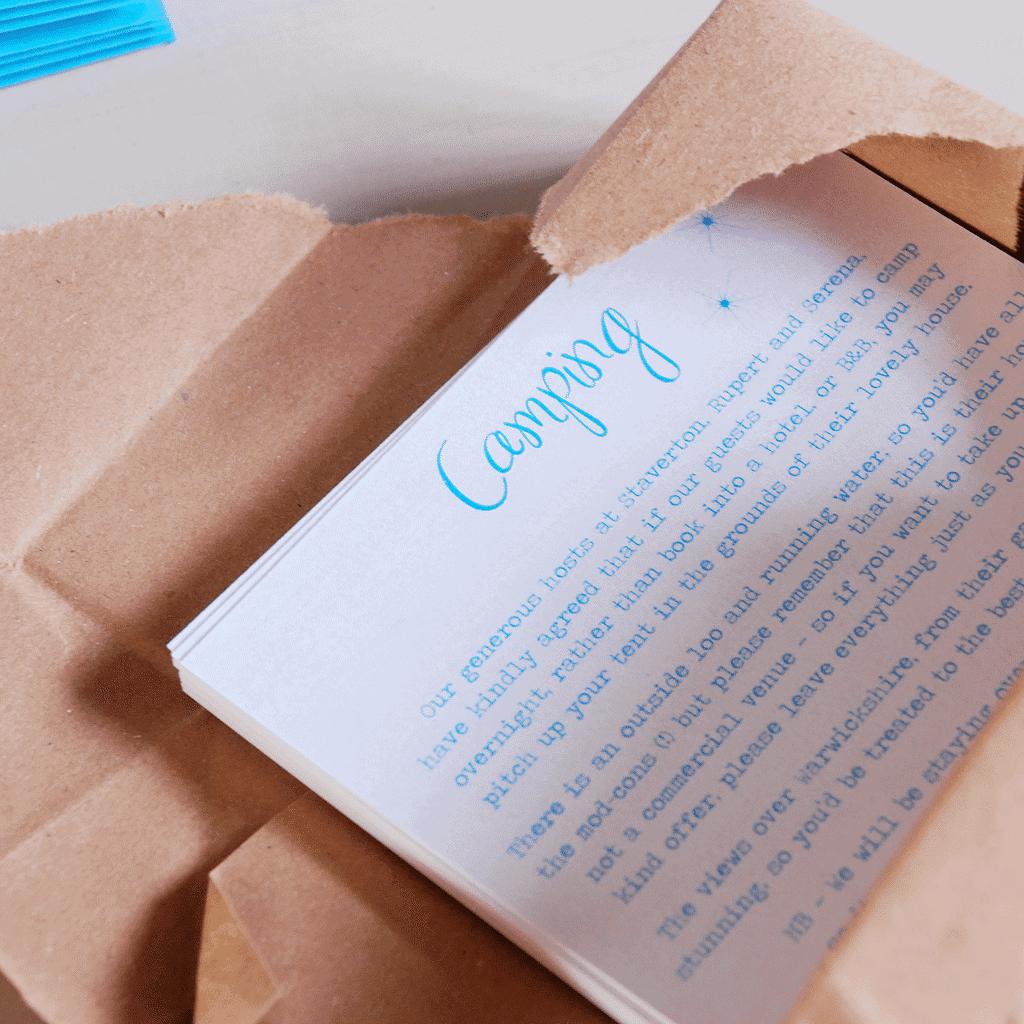 Twinkle Twinkle Little Star Invitations — Camping info card