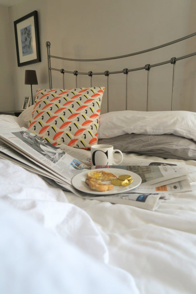 New bedding and chocolate coins for breakfast