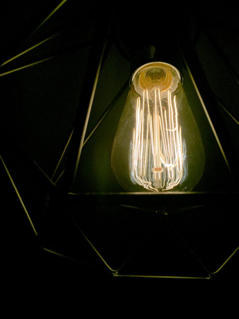 filament bulb and geometric lighting from iconic lights