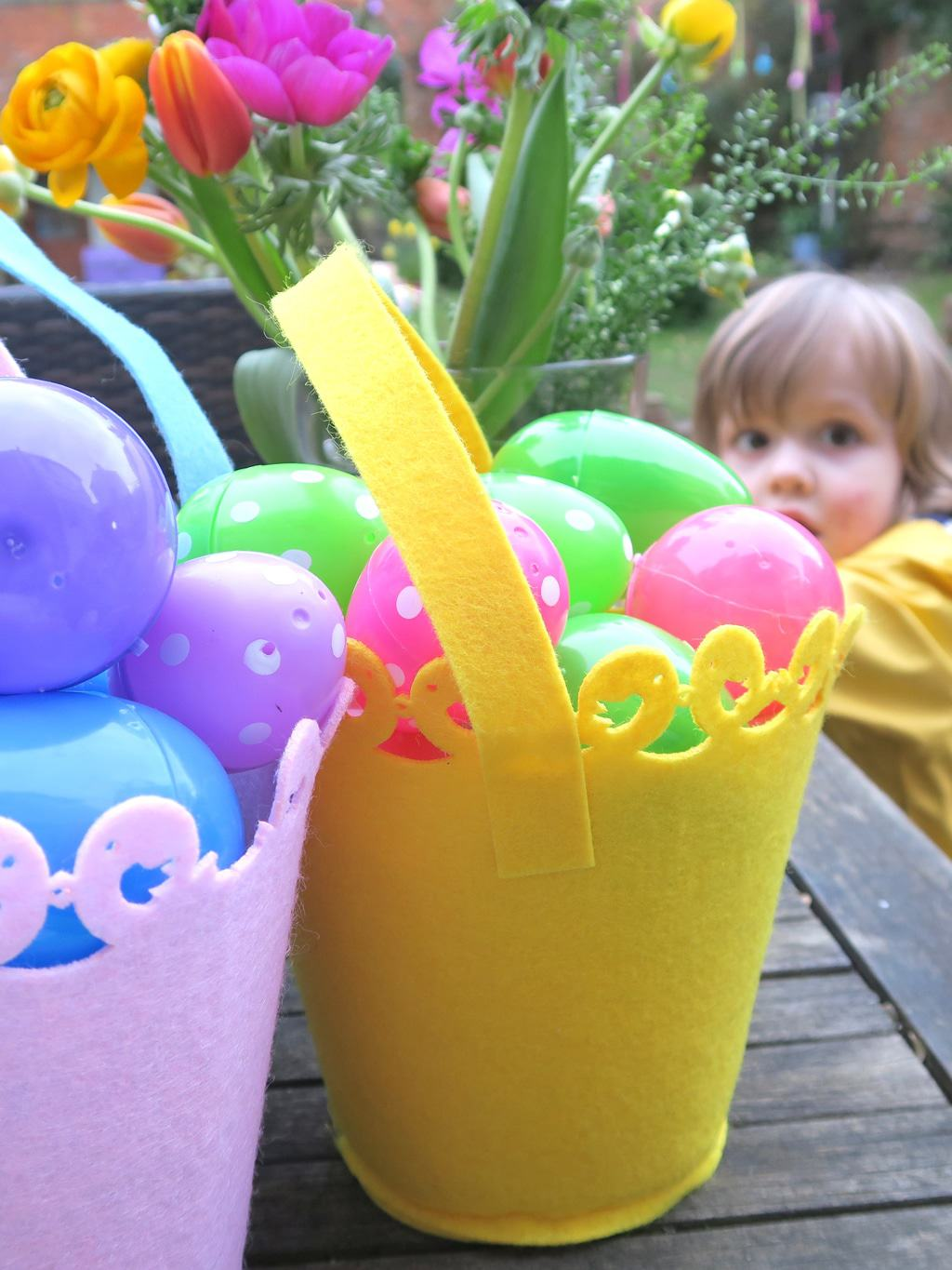Colourful plastic eggs, ready for the perfect Easter egg hunt