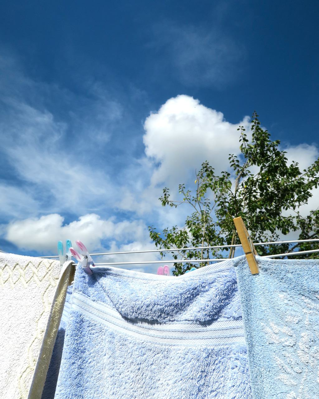 Blue sky day, washing on the line