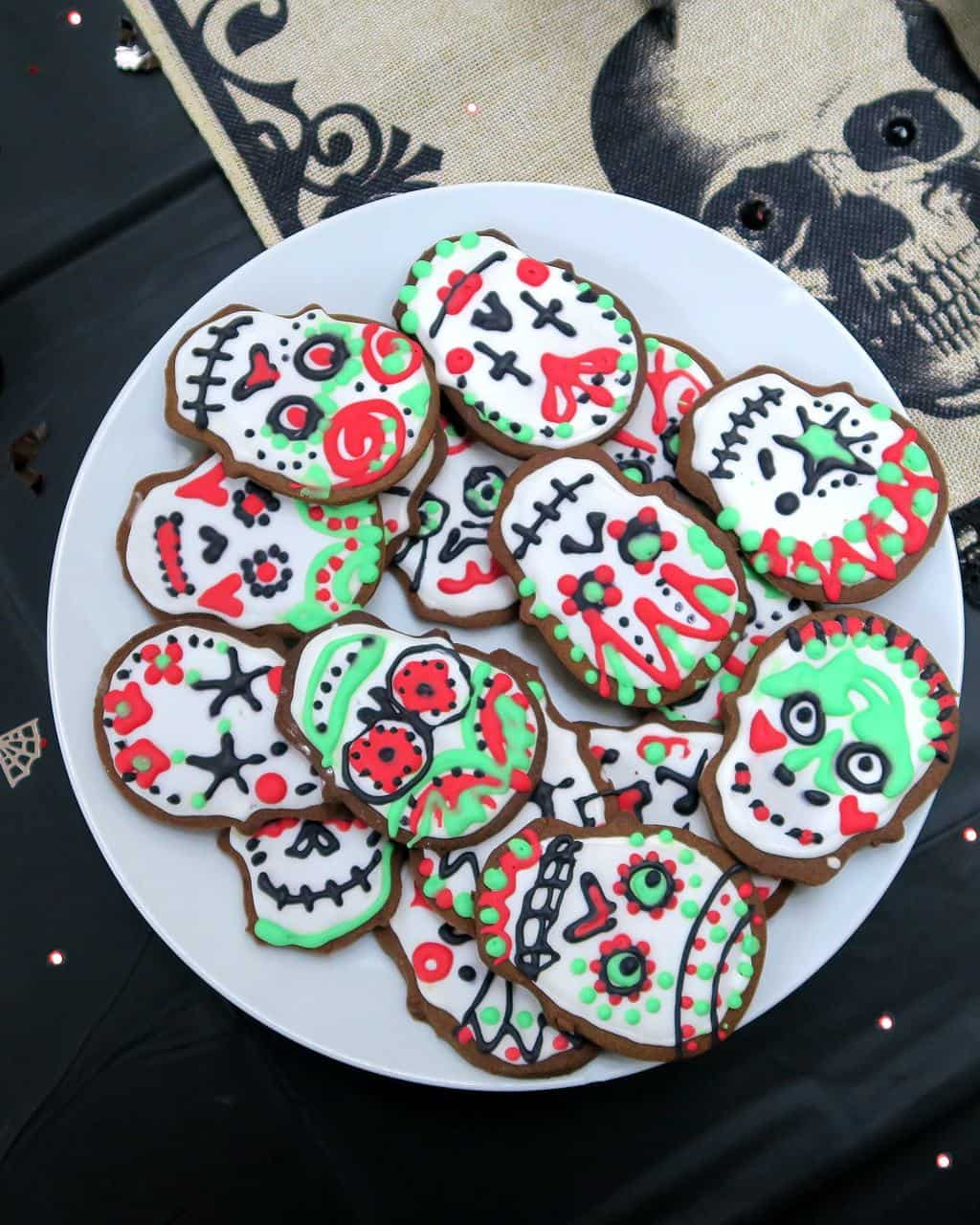 Halloween Party Sugar Skull Cookies