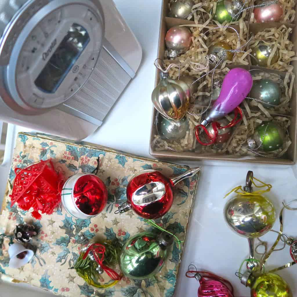 Granny's Vintage Christmas Decorations — including the crazy glass aubergine!!