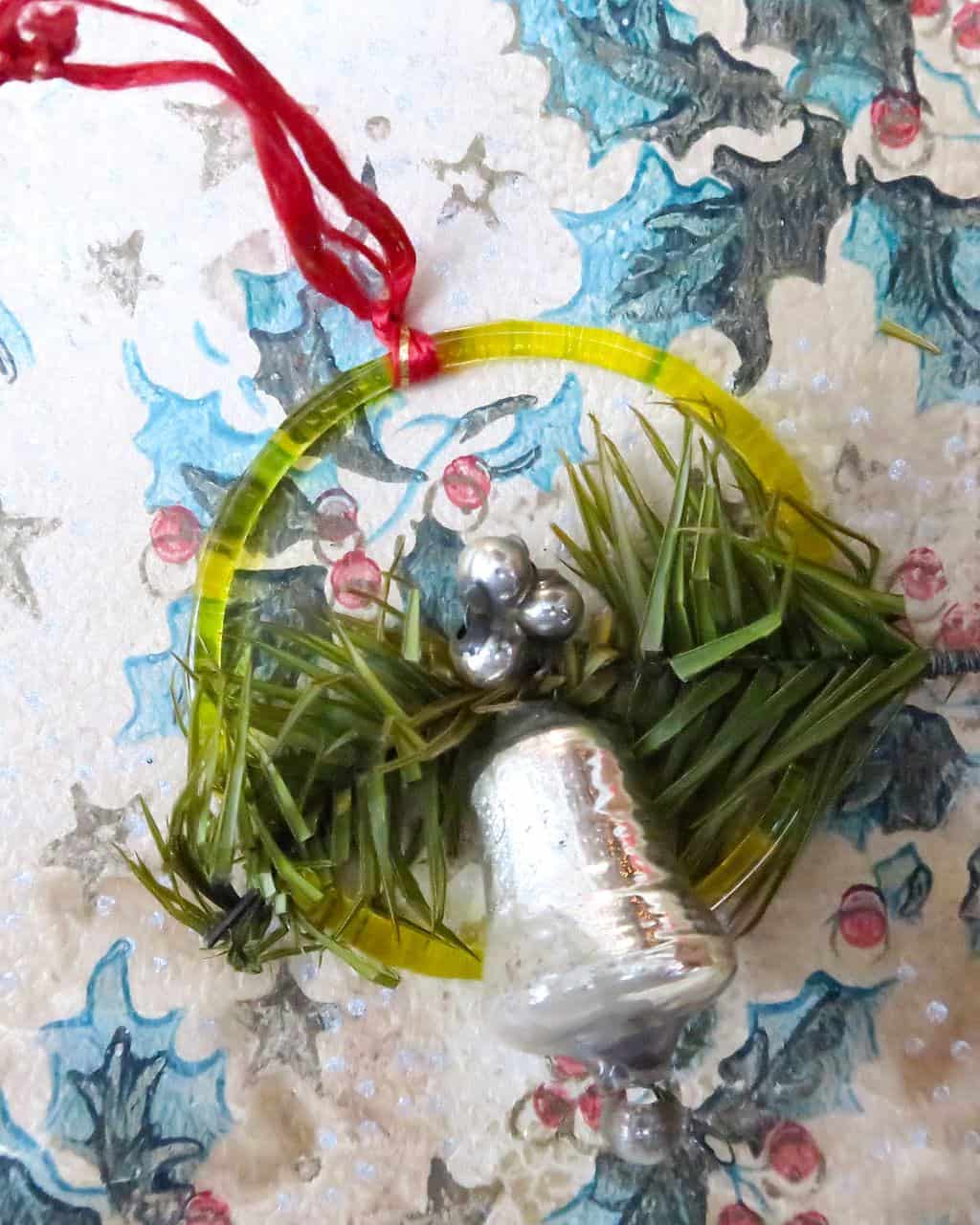 Granny's Vintage Christmas Decorations include this little glass bell