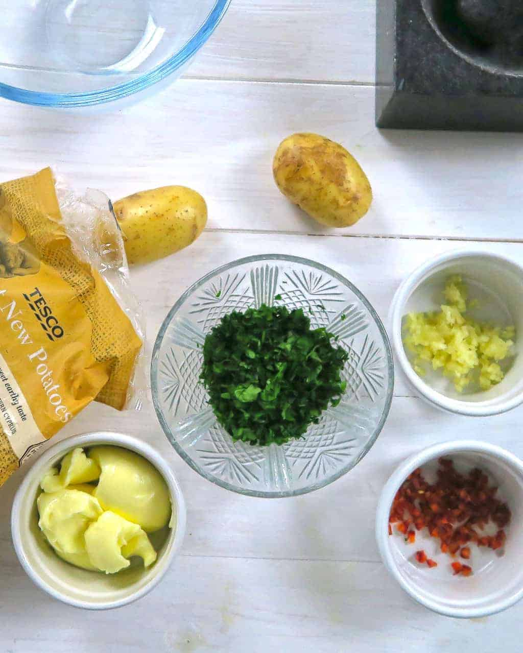 Ingredients for Mini Hasselback Potatoes with Garlic and Chilli