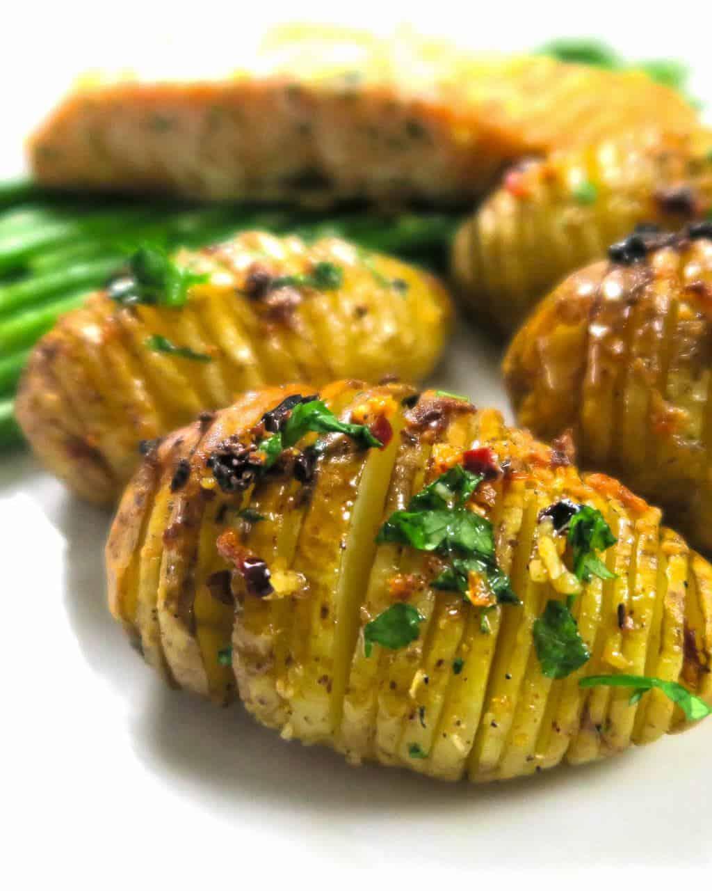 Mini Hasselback Potatoes with Garlic and Chilli