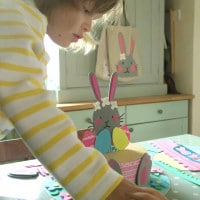 Making Easter bonnets at the kitchen table