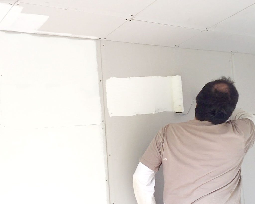 Operation She Shed | Painting the plasterboard