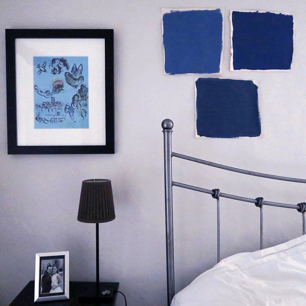 A colourful bedroom makeover | Farrow and Ball swatches on on the wall
