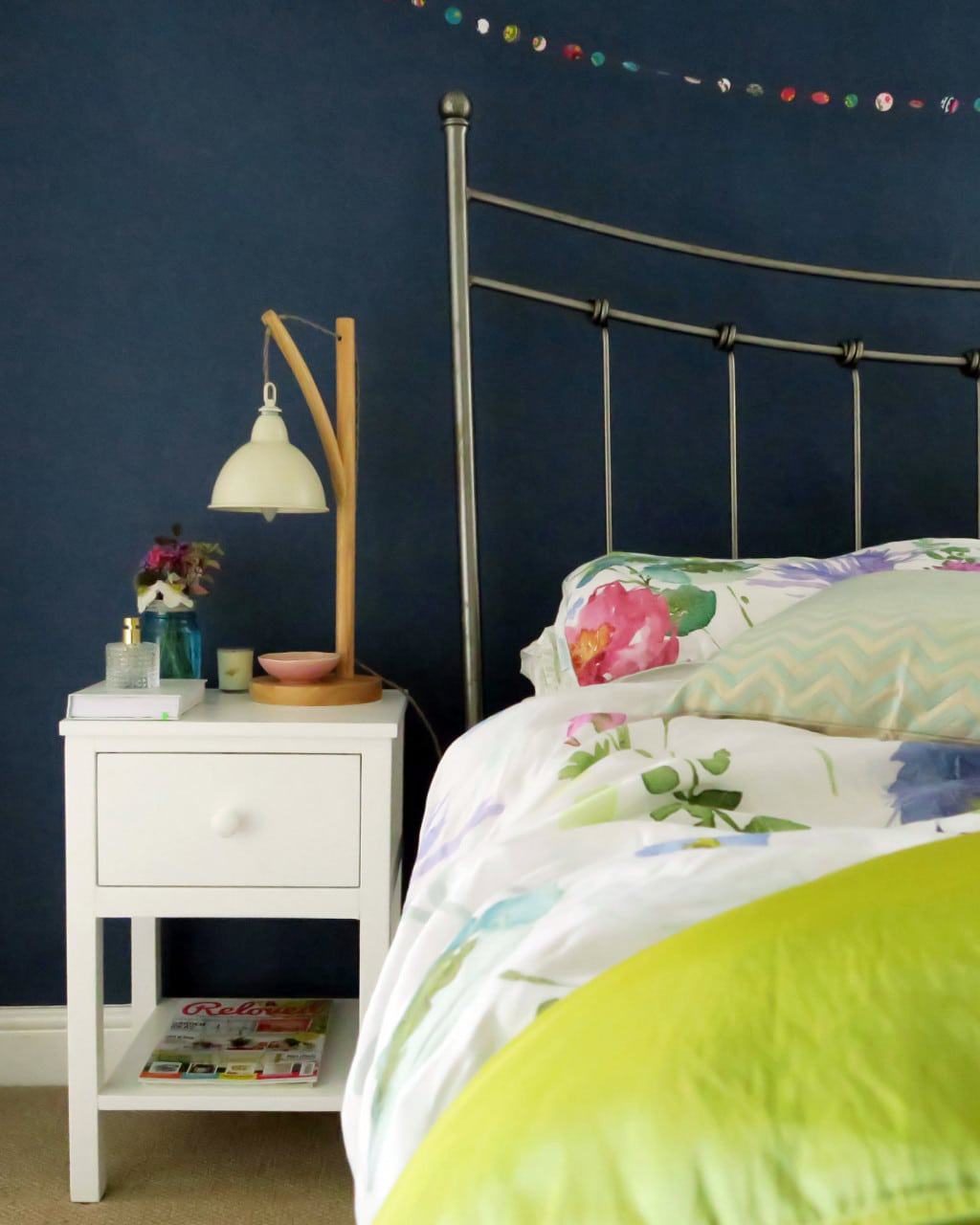 A colourful bedroom makeover | Stiffkey blue walls and bright bedlinen