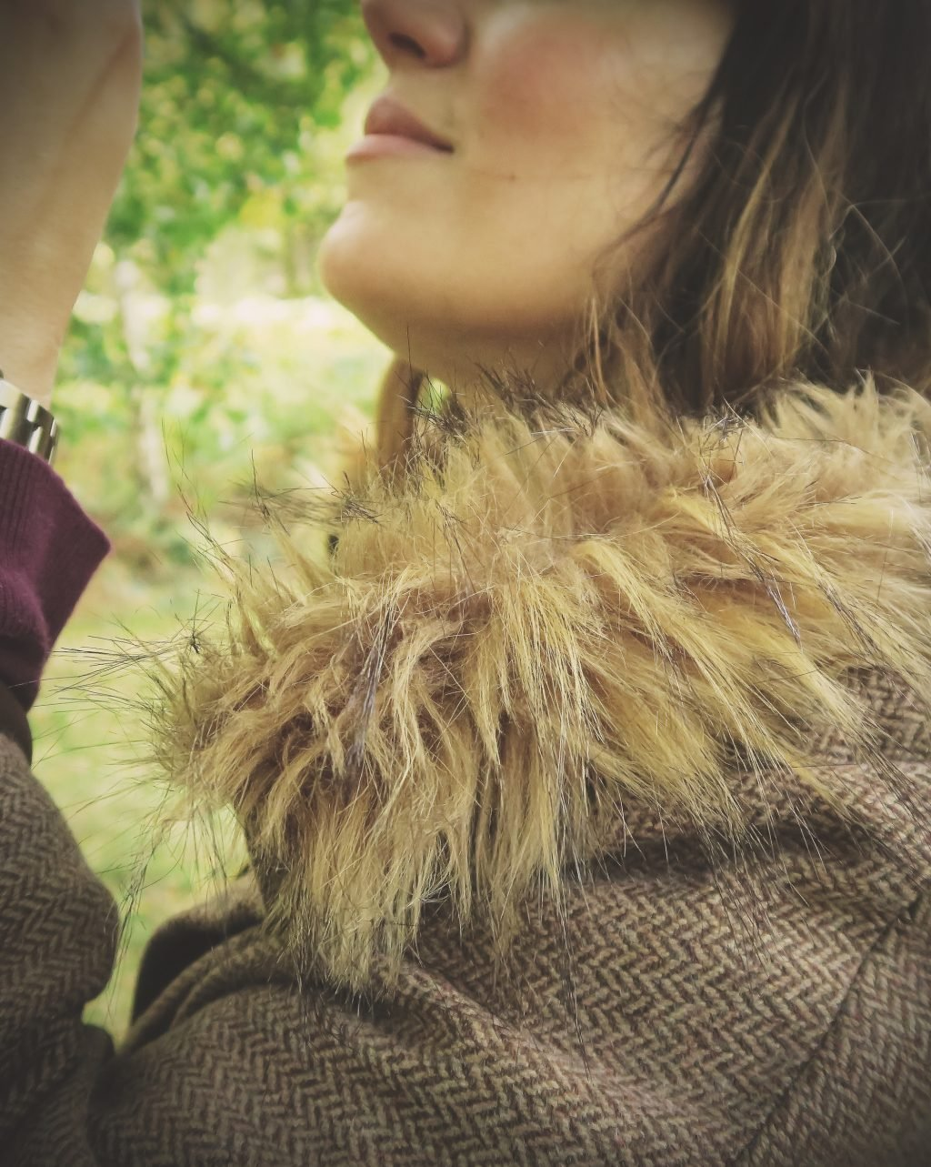 A Walk in Joules autumn collection — tweed cape with fur collar