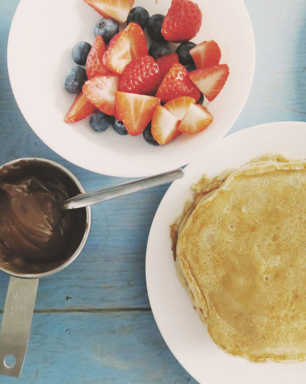 The Best Eggless Pancake Recipe EVER {Featuring Nutella} — table overhead