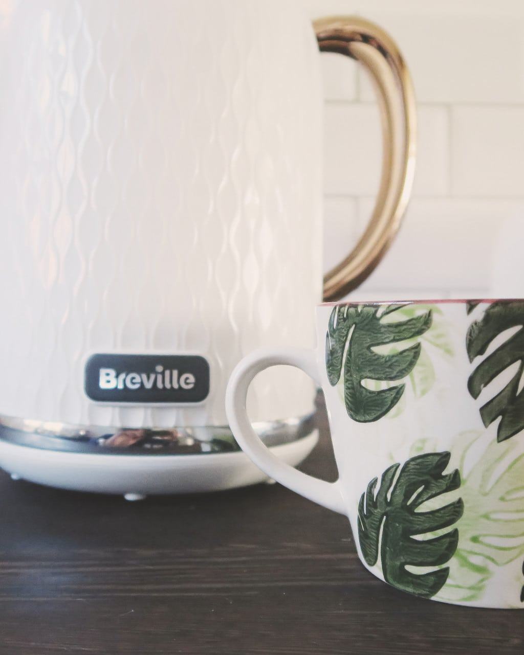 the Breville Curve Kettle — rose gold accents