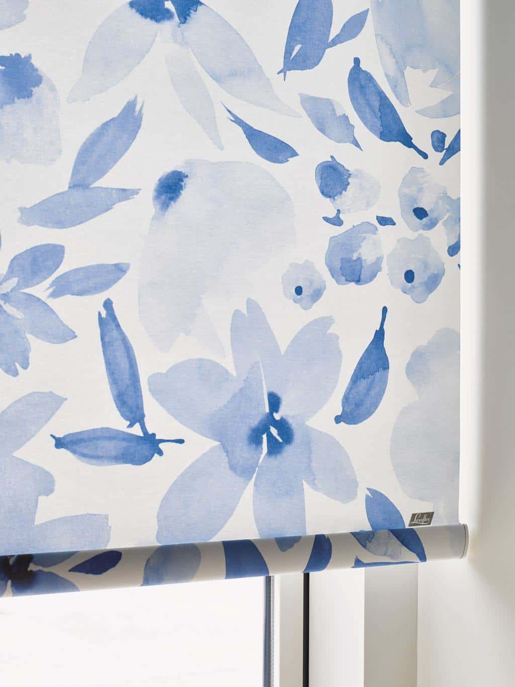 Navy and White Botanical roller blinds from Luxaflex