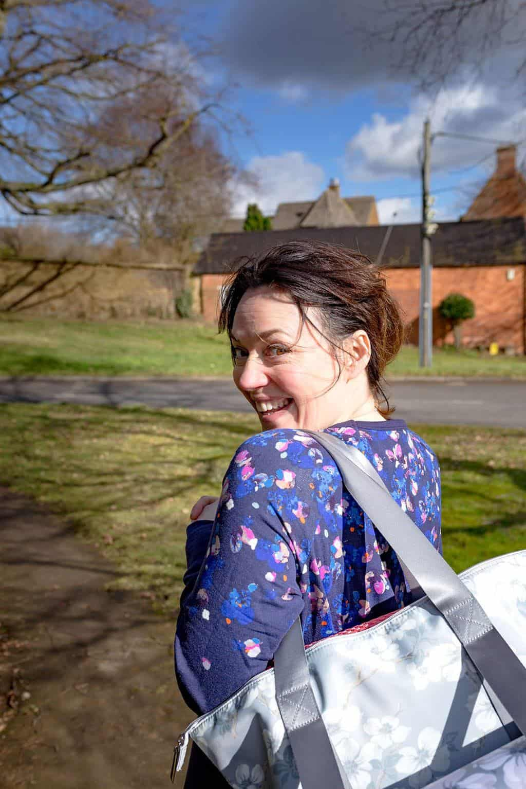 Walking to Pilates in Joules activewear with Laura Ashley gym bag