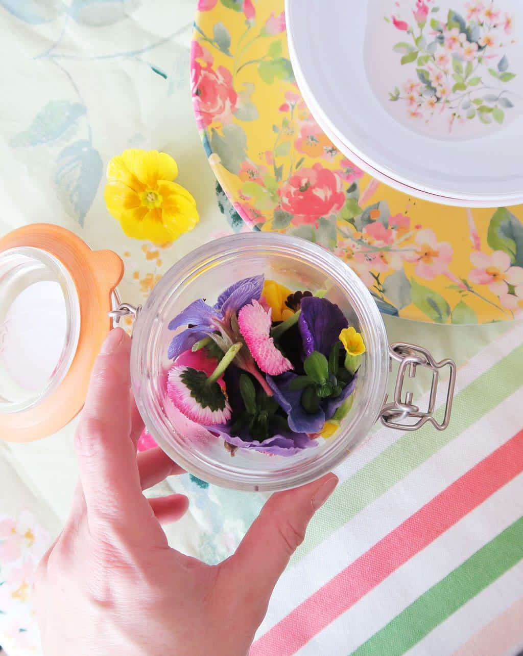 Edible flowers from Delicately Edible plus Spring Florals Tableware from Laura Ashley