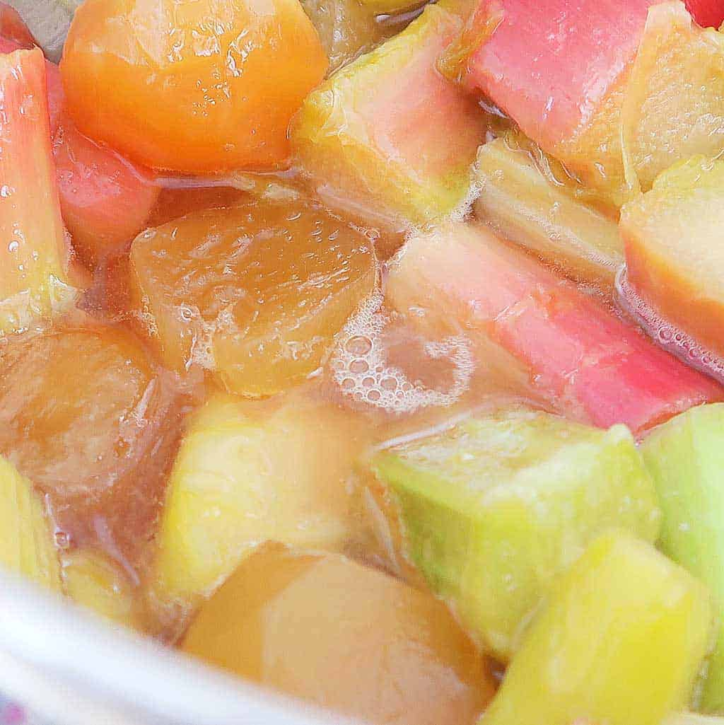 cooling cooked rhubarb and ginger for homemade gin