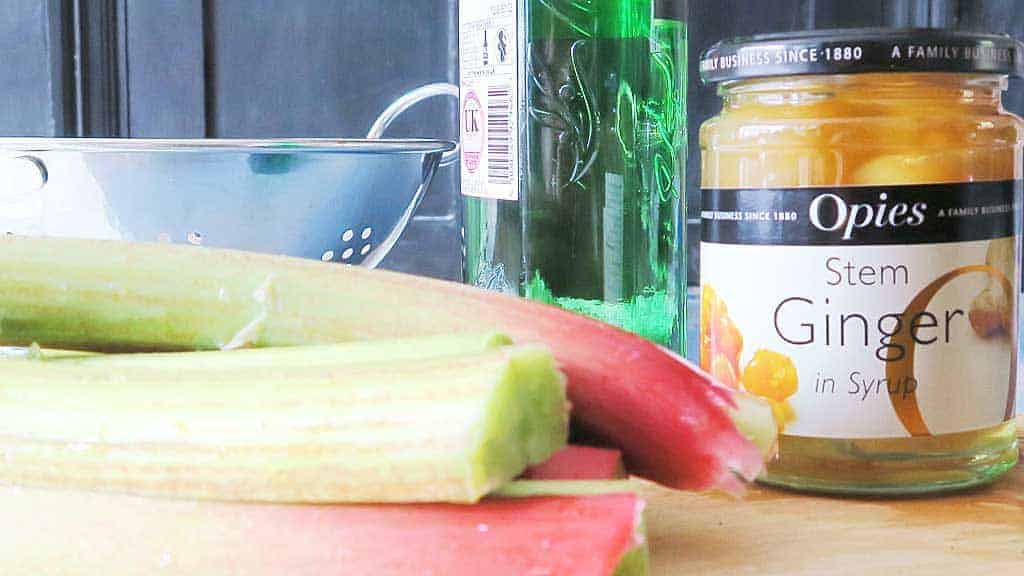Homemade Ginger and Rhubarb Gin Recipe ingredients