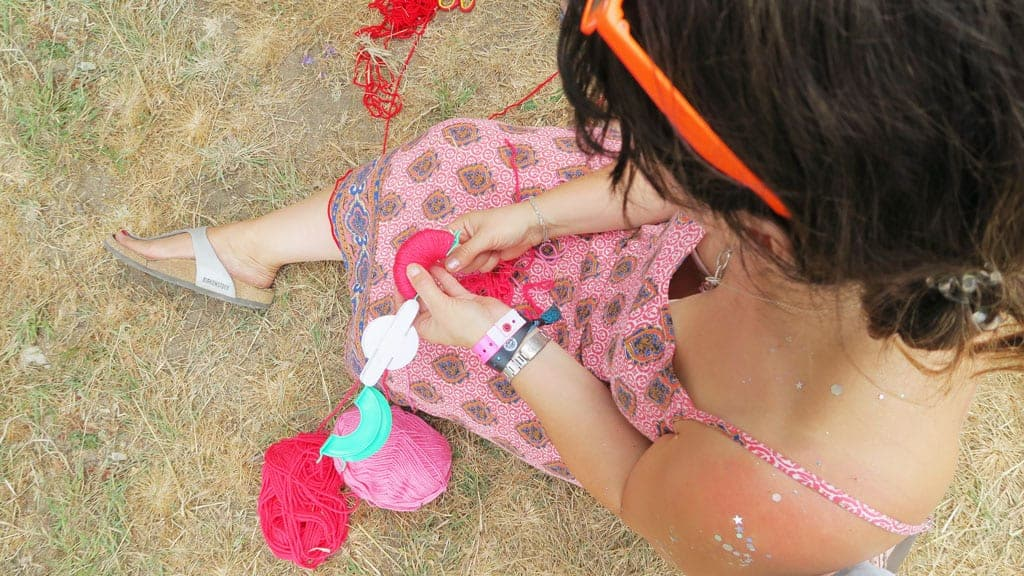 The Craft Corner at Camp Bestival 2018 where we learnt how to make pom poms
