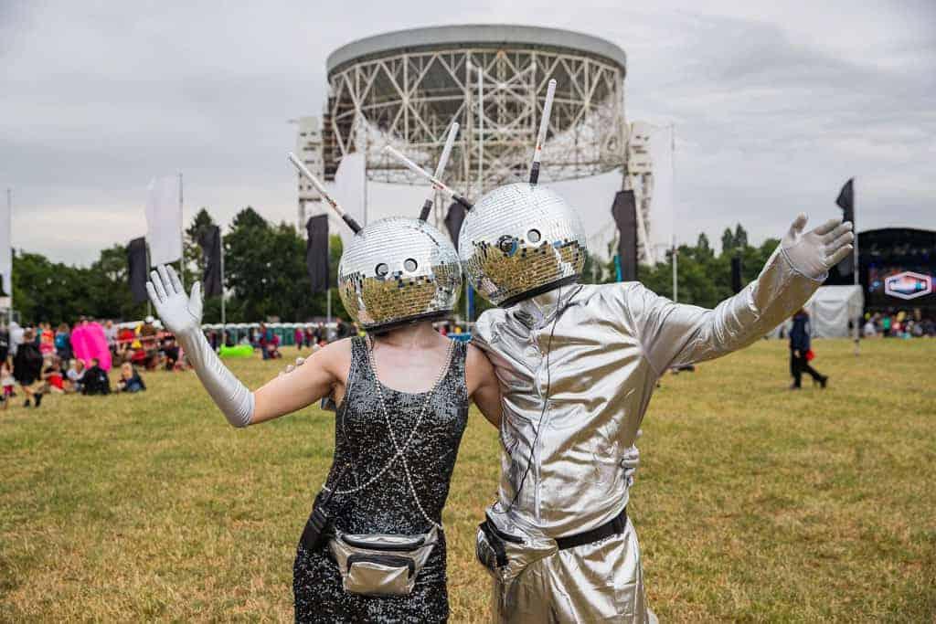 Glitterball helmets at Bluedot festival 2018
