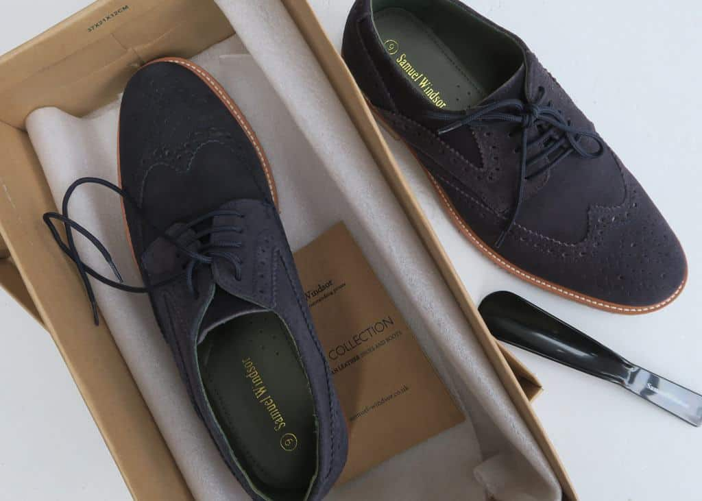 Navy suede brogues from Samuel Windsor — Affordable Mens Smart Casual Clothing