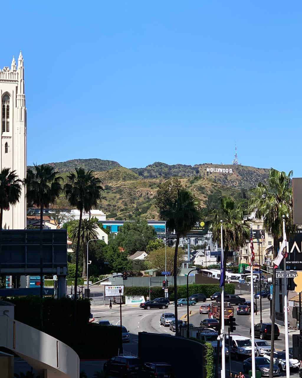 Downtown Hollywood with the Hollywood sign in the background — our family road trip LA to San Fran