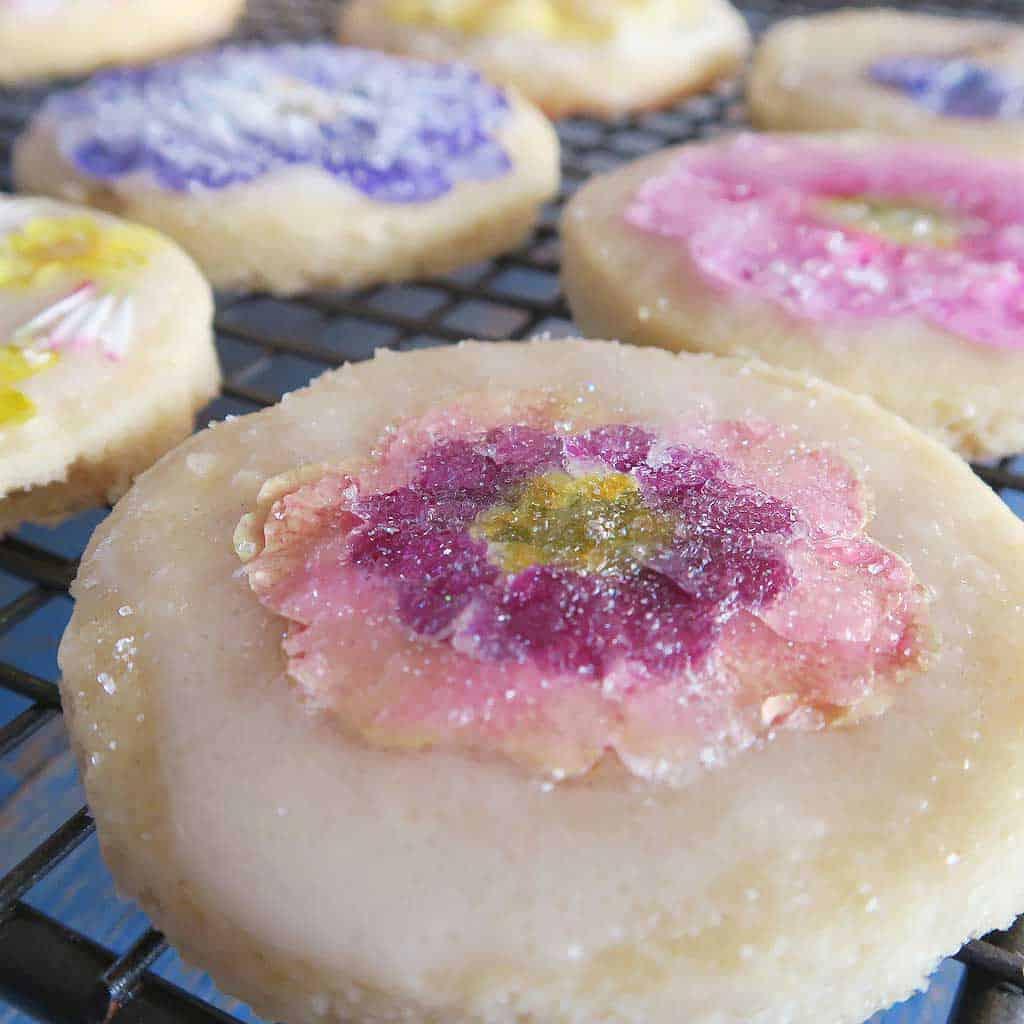 pressed flower shortbread cookies