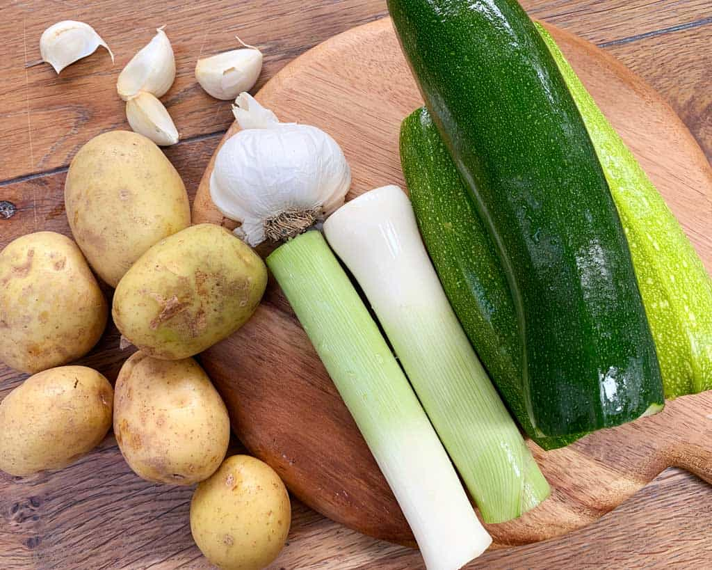 Ingredients for Courgette Leek and Potato Soup