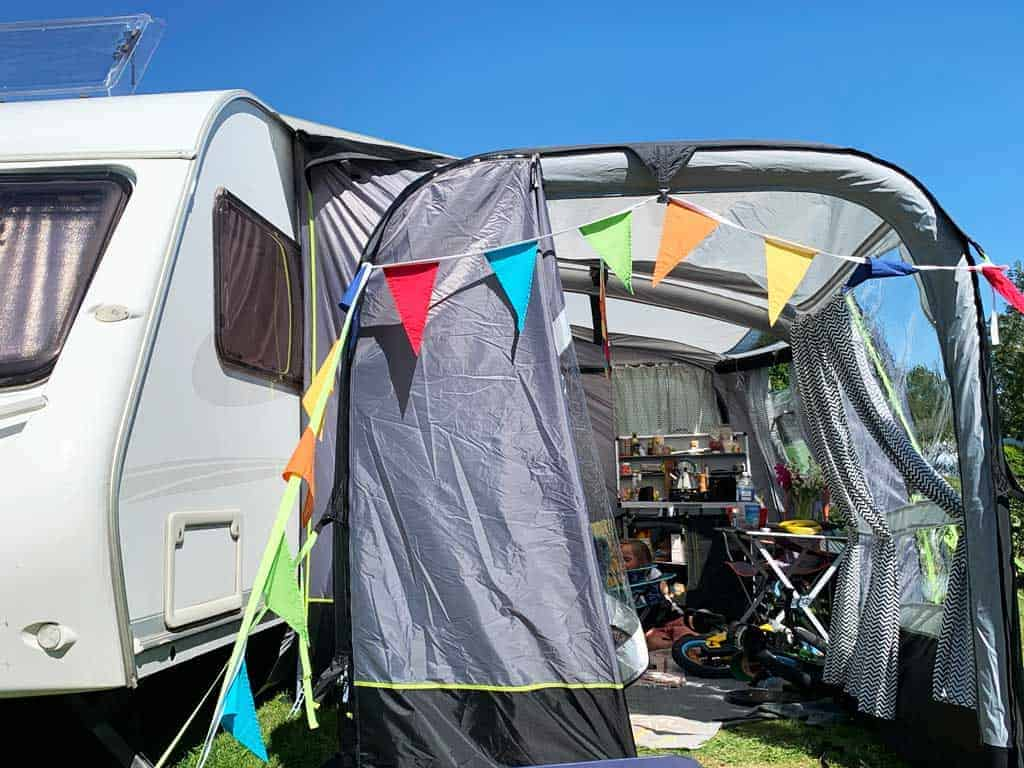 Camping with Dolly and the OLPRO View 420 Caravan Inflatable Porch Awning