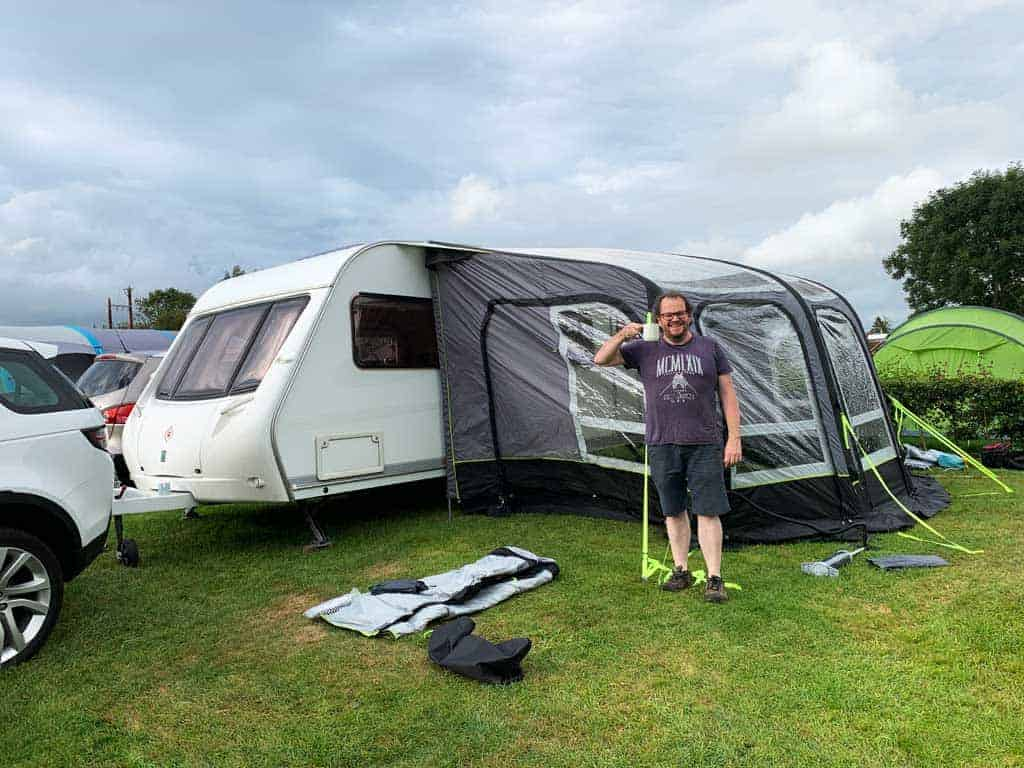 putting the OLPRO View 420 Caravan Inflatable Porch Awning on Dolly 3