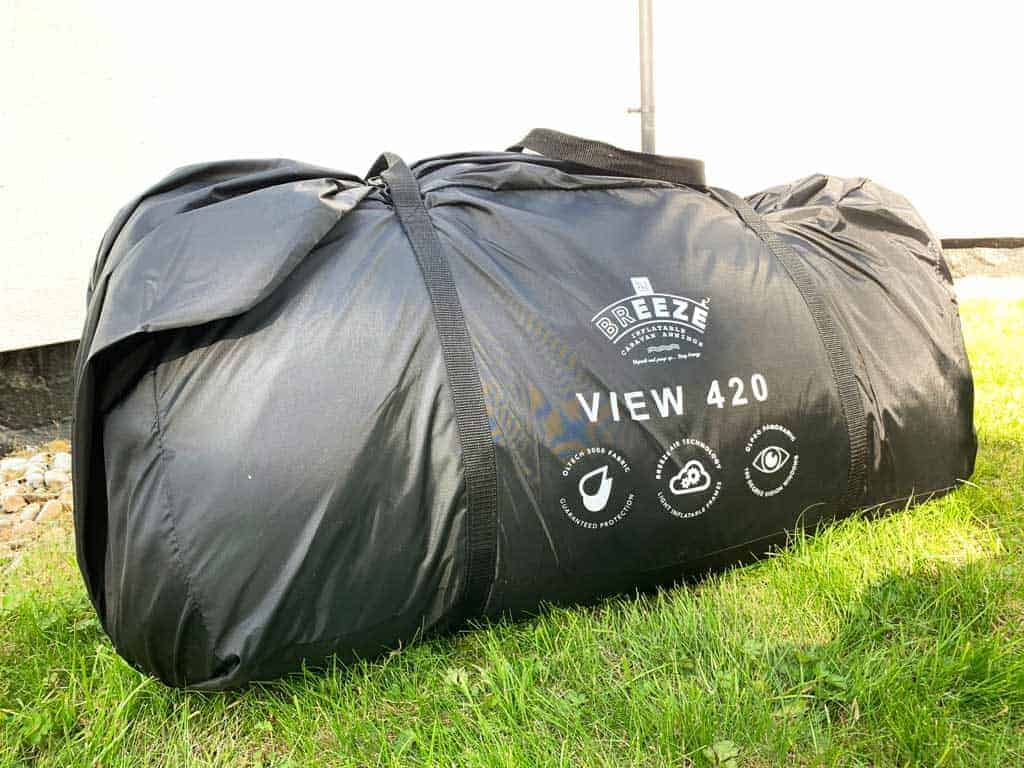 The OLPRO View 420 Caravan Inflatable Porch Awning in its bag