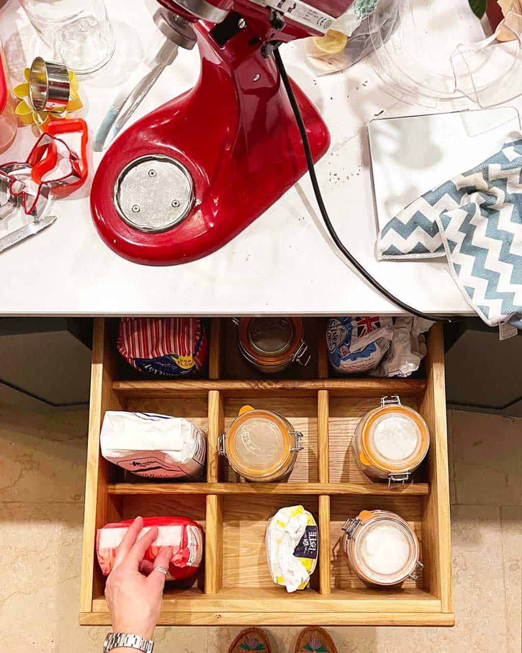 The baking drawer in the Listed Home kitchen