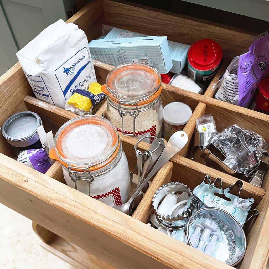The baking drawer in the Listed Home kitchen  — full of all the ingredients for gingerbread biscuits