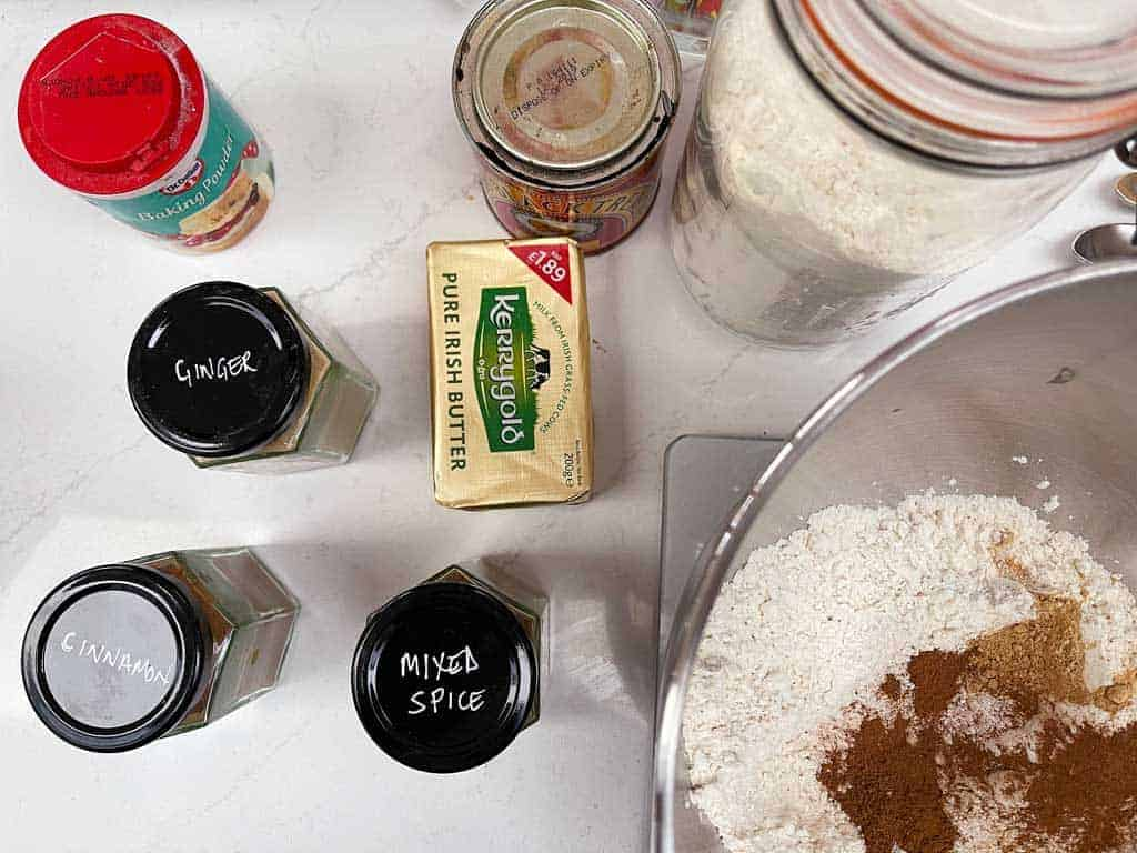 All the ingredients you'll need to make perfect gingerbread cookies