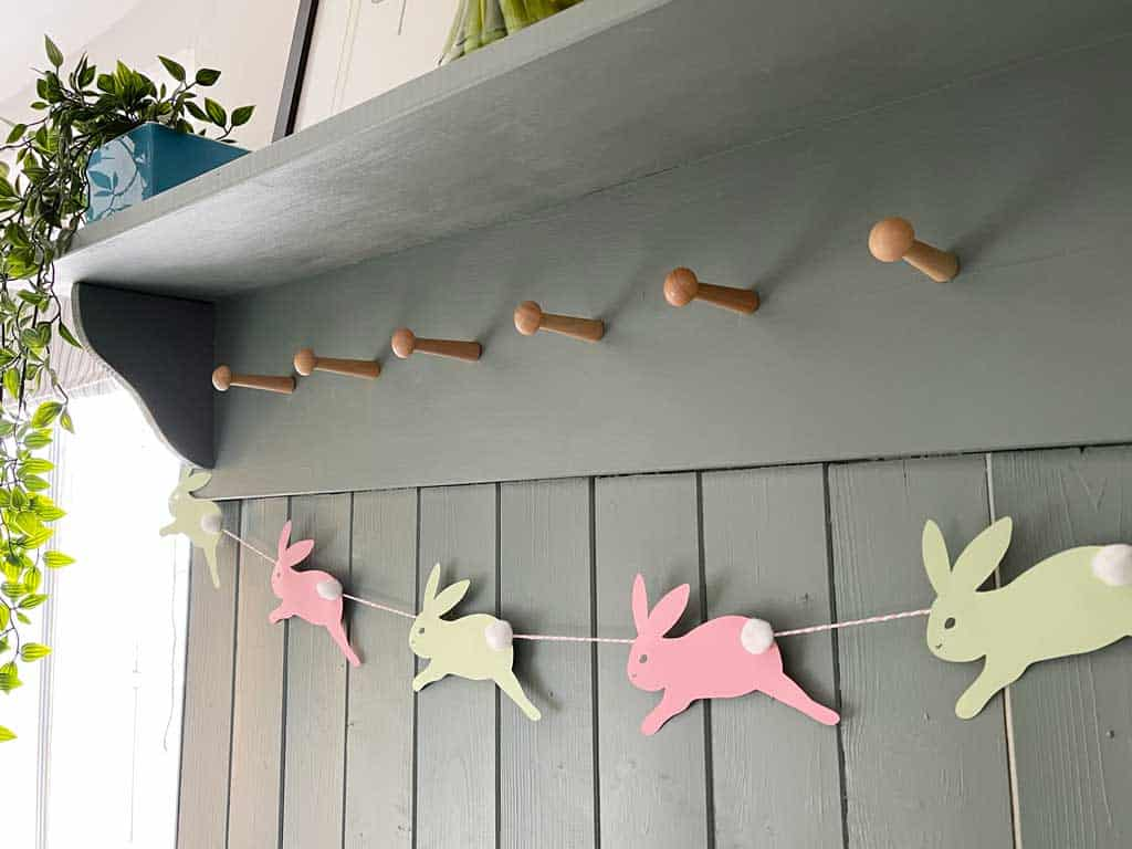 Simple DIY Easter Bunny Garland With Pom Pom Tails