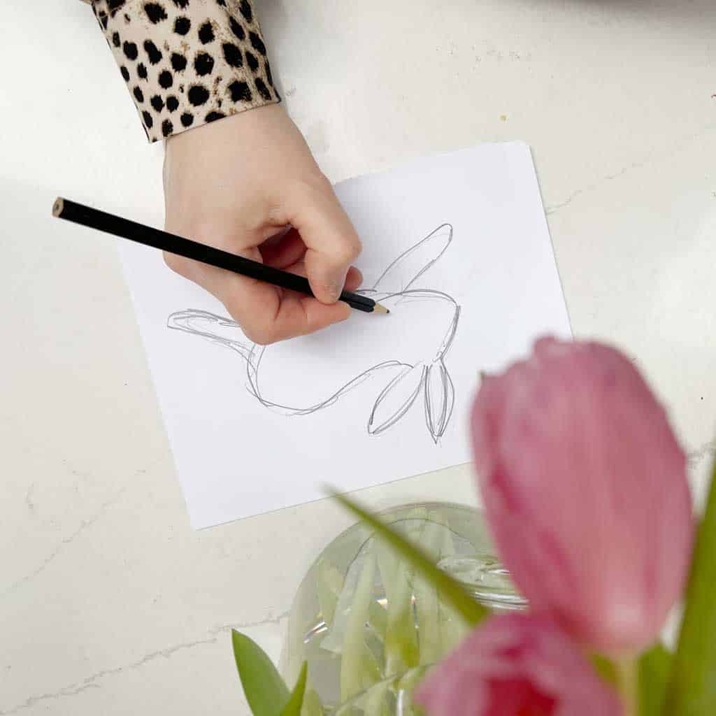Drawing the bunny to create a Simple DIY Bunny Garland