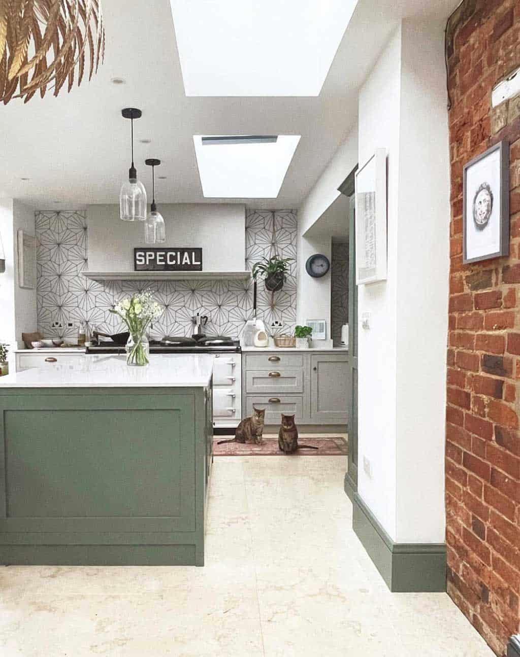 limestone floor, lilypad tiles, green shaker kitchen, grey shaker kitchen