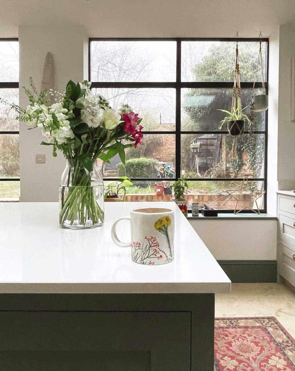 shaker kitchen, Crittall windows and white quartz worktops