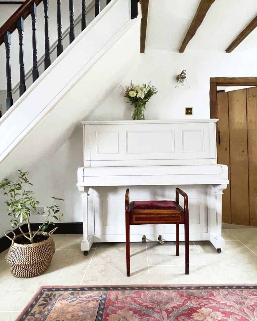 white painted piano