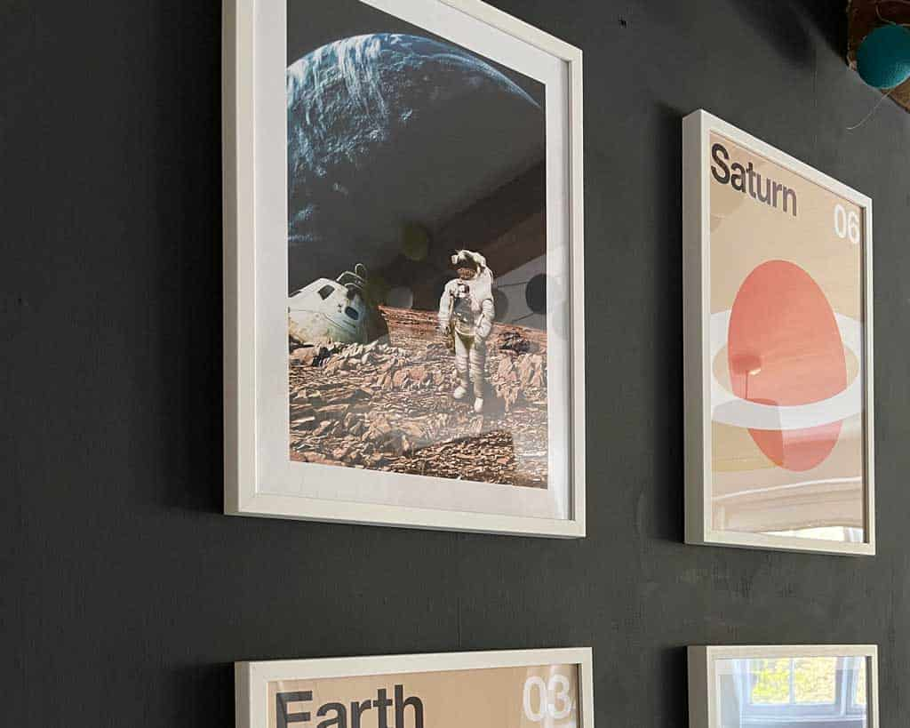 Space Themed accessories from Desenio make a plain wall pop!