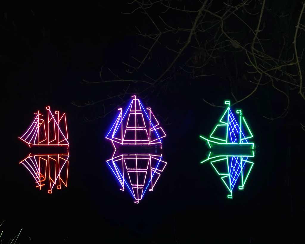 Three ships at the  Blenheim Palace Christmas Lights Trail
