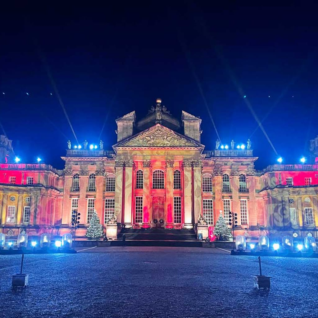 Blenheim Palace all lit up for the Christmas Lights Trail